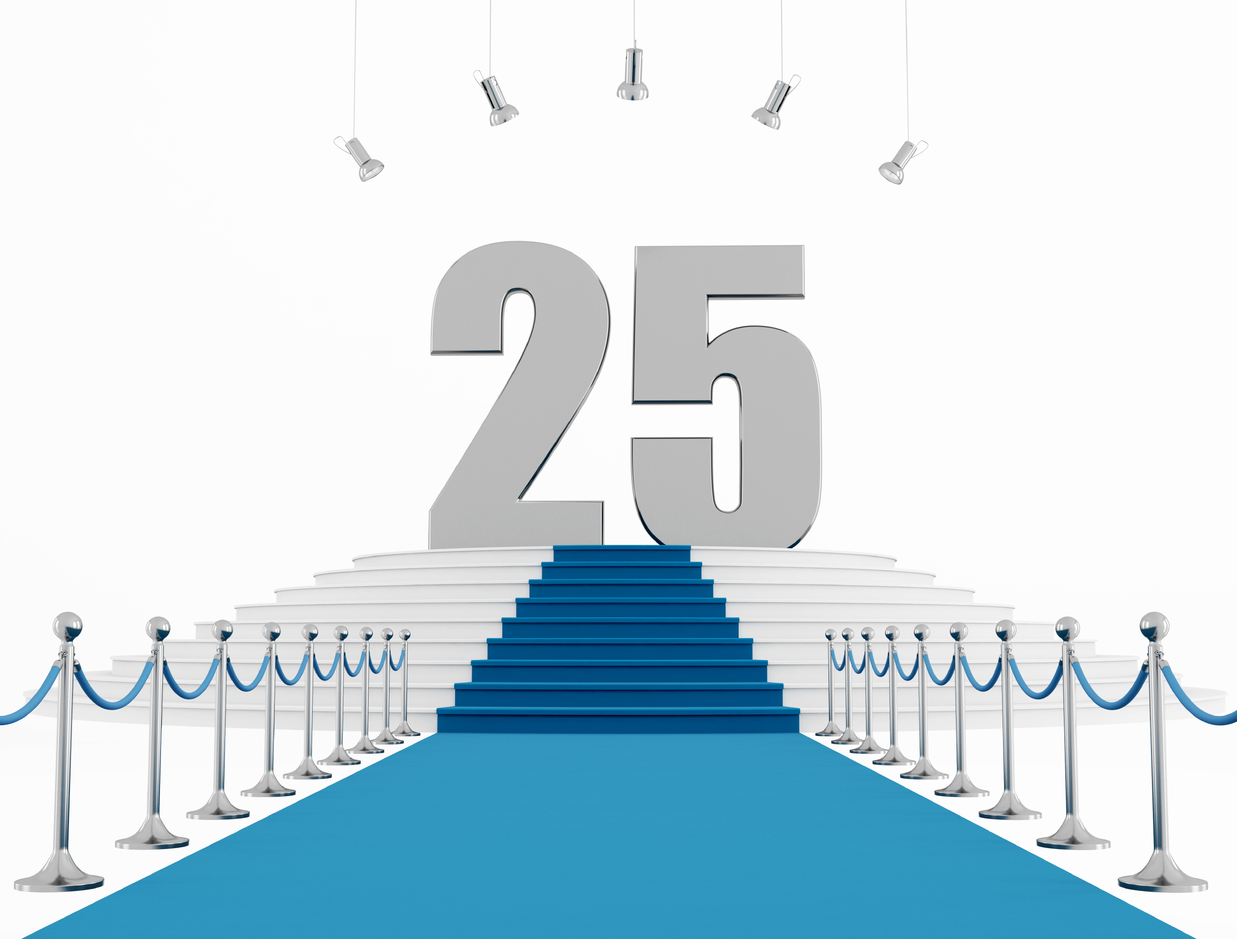 25 year anniversary with blue carpet isolated on white-rendering
